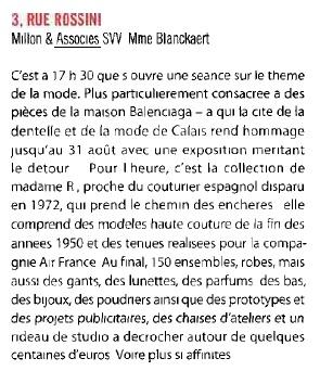 Parution Gazette Drouot - Ventes aux enchères d'archives de la Maison Balenciaga - Millon