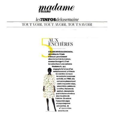 Parution Madame Figaro - Ventes aux enchères d'archives de la Maison Balenciaga - Millon