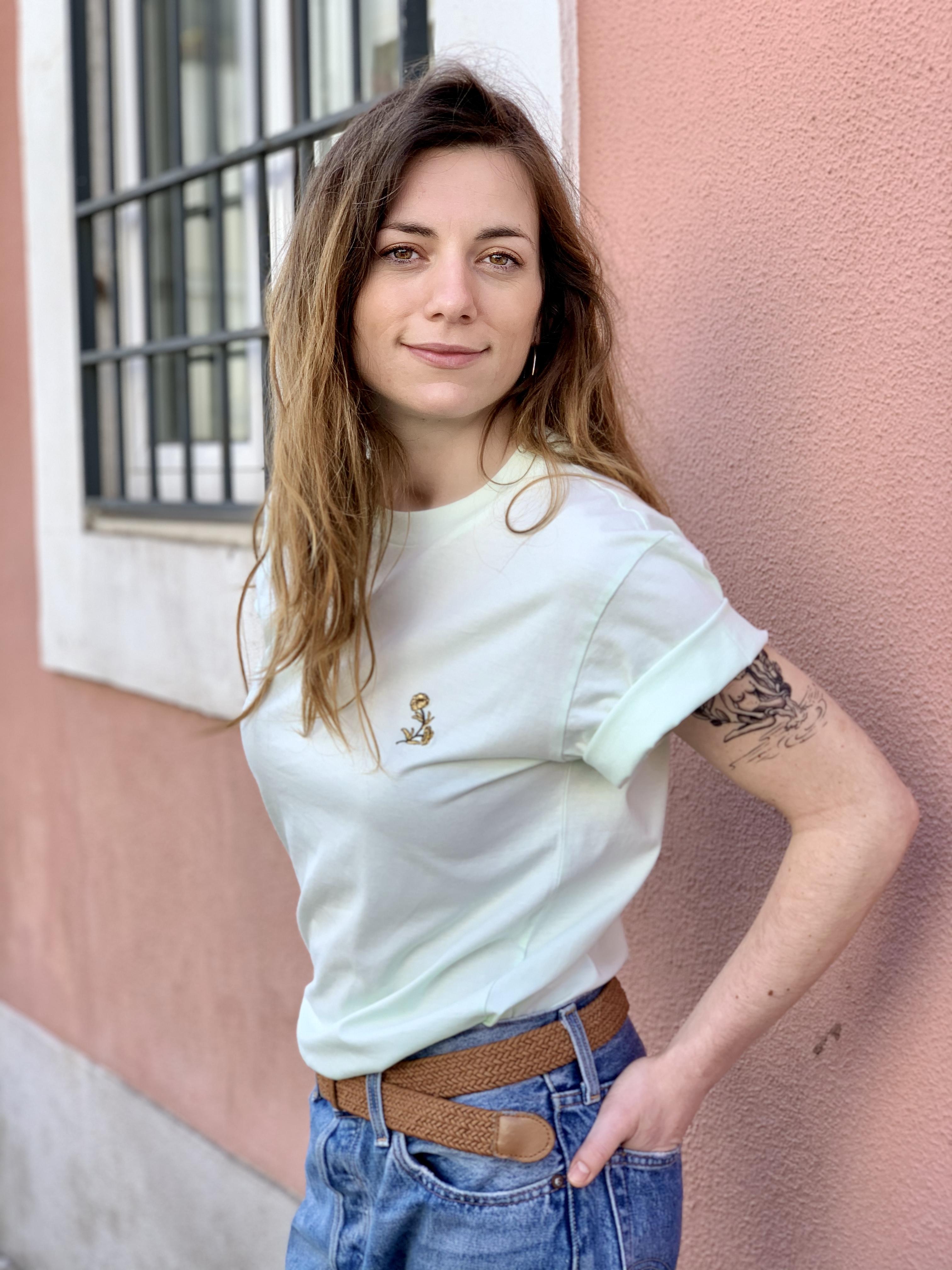 Célia Lobo - T-shirt FLOR Mint - 100% Organic Cotton