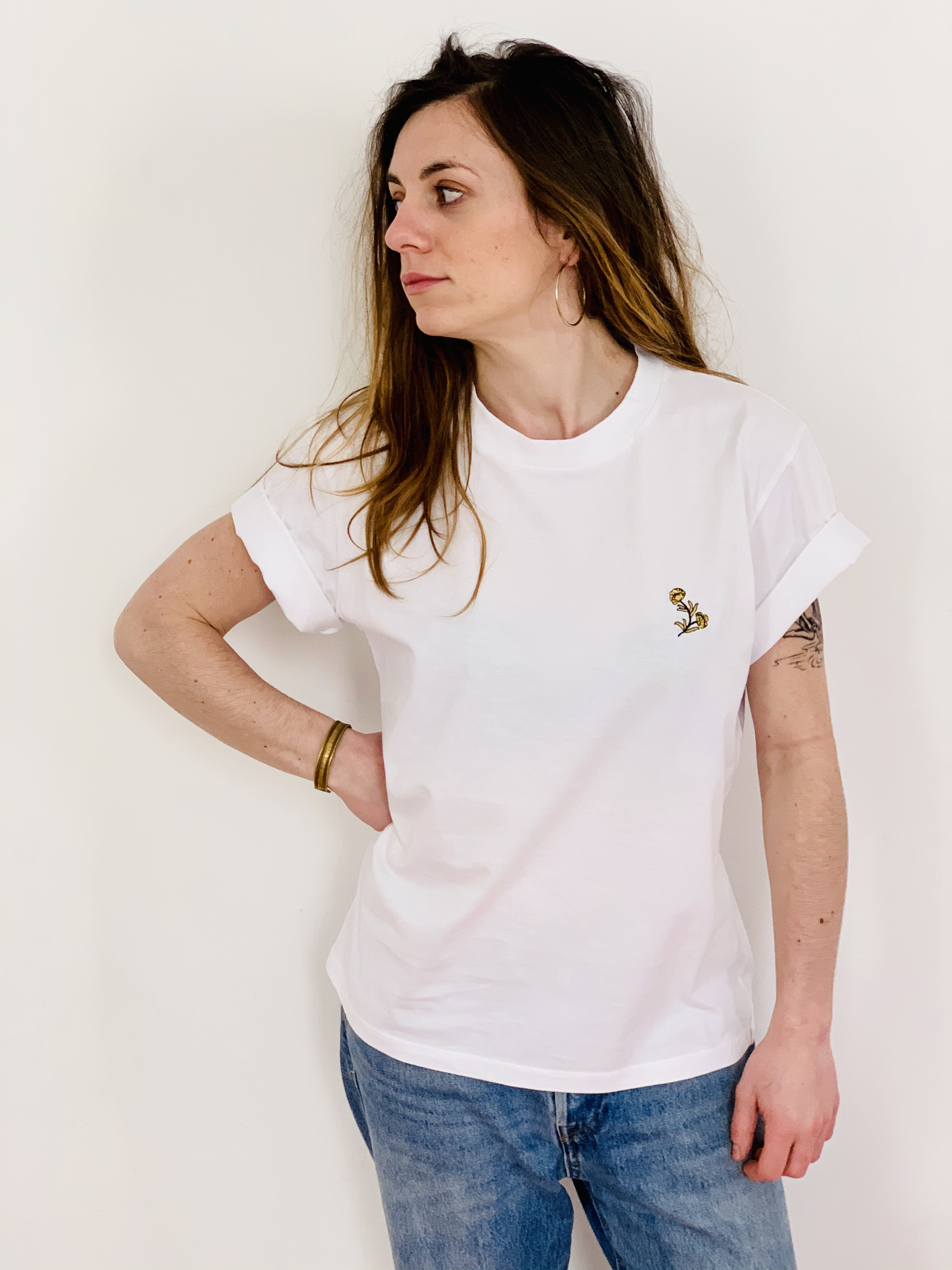 Célia Lobo - T-Shirt FLOR White - 100% Organic Cotton